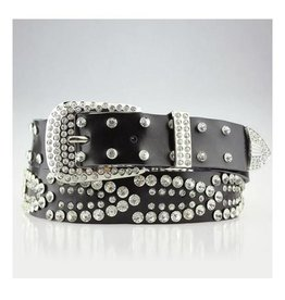 Black Rhinestone Leather Belt