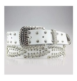White Rhinestone Leather Belt