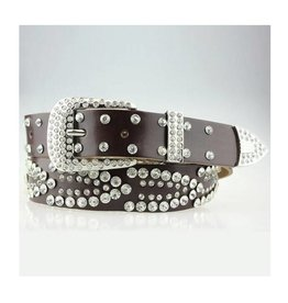 Brown Rhinestone Leather Belt