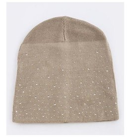 Tan Beanie With Rhinestones