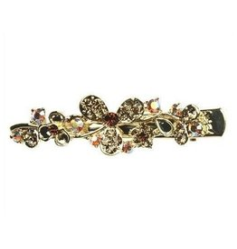 Brown Crystal Flower Hairpin