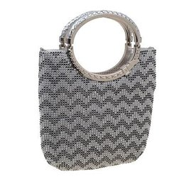 Elegant Silver Wave Crystal Clutch