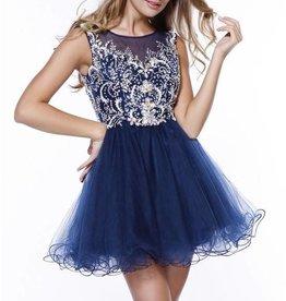 Beautifully jeweled Illusion Short Dress Size M