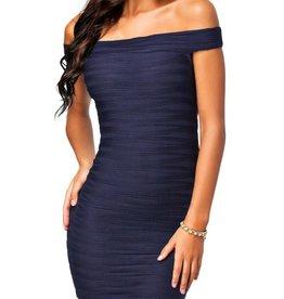 Unique Navy Blue Off Shoulder Short Dress