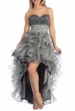 Platinum Jeweled Ruffled High Low Dress Size S