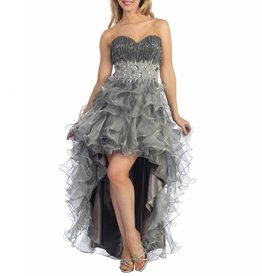 Platinum Jeweled Ruffled High Low Dress Size S
