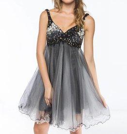 Black & White Jeweled Top Short Dress