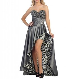 Platinum Jeweled Leopard High Low Dress