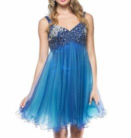 Blue Jeweled Top Short Dress