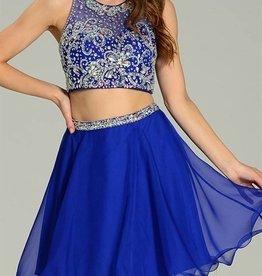Blue Two-Piece Jeweled Short Dress