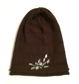 Dark Brown Jeweled Beanie