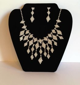 Diamond Shaped Rhinestone Necklace & Earring Set