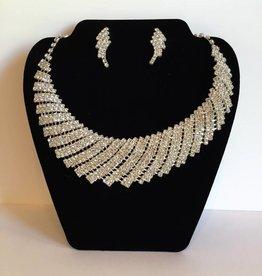 Rhinestone Choker Necklace & Earing Set