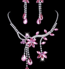 Pink Crystal Flower Necklace Set