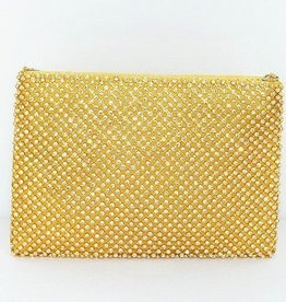 Gold Rhinestone Mesh Purse