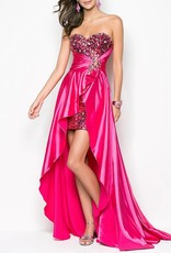 Fushia Sequin & Satin High Low Dress Size XL
