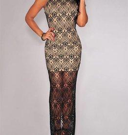 Illusion Lace Maxi Dress - One Size