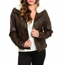 Brown Leather Jacket With Cream Fur