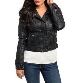 Black Leather Jacket With Cream Fur