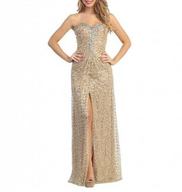 Gold Full Sequined Jeweled Long Dress Size M