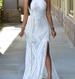 White Lace Nude Illusion Long Dress Size S-M
