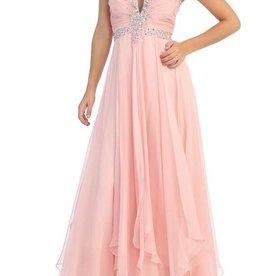 Blush Jeweled Top Long Dress