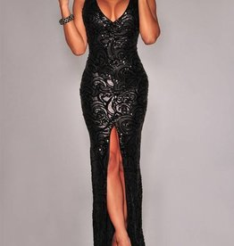 Black Patterned Sequin Long Dress