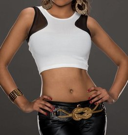 White Crop Top With Black Inserts