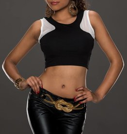 Black Crop Top With White Inserts