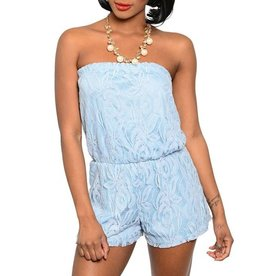 Blue Lace Strapless Romper
