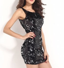 Black & Silver Full Sequin Short Dress Size S to M