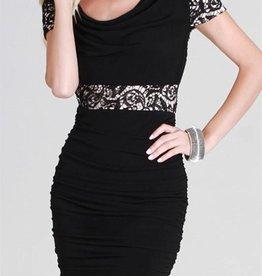 Black Nude Lace Illusion Short Dress