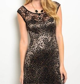 Black & Gold Metallic Lace Short Dress