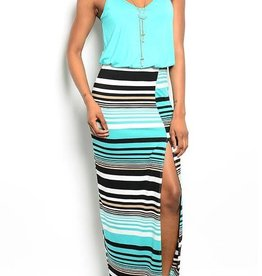 Mint Black & White Long Maxi Dress