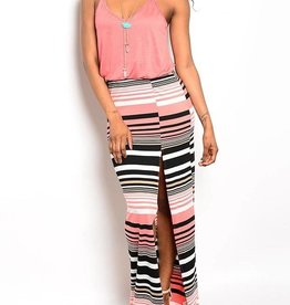 Coral Black & White Long Maxi Dress