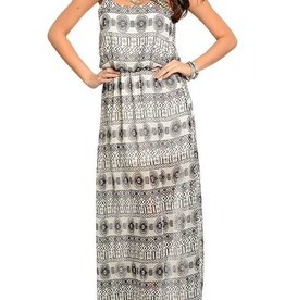 Ivory Black Abstract Maxi Dress