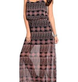 Black & Pink Abstract Maxi Dress