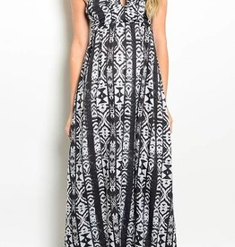 Gray Tribal Print Maxi Dress