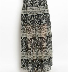 Black & Taupe Patterned Maxi Skirt