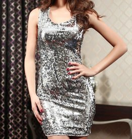 Stunning Silver Full Sequin Short Dress