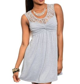 Light Gray Lace Top Short Dress