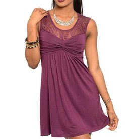 Wine Lace Top Short Dress