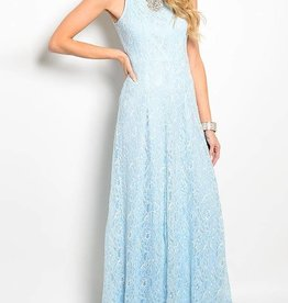 Light Blue Lace Long Dress