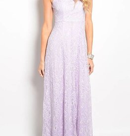 Lavender Lace Long Dress