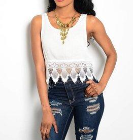 White Rayon & Crochet Hem Tank Top