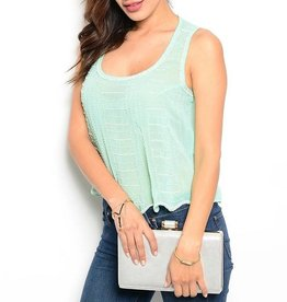 Mint Beaded Sheer Tank Top
