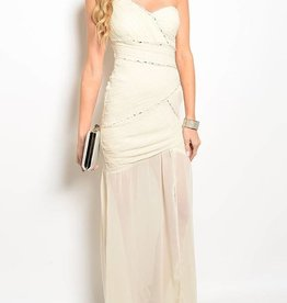 Ivory Jeweled Long Dress