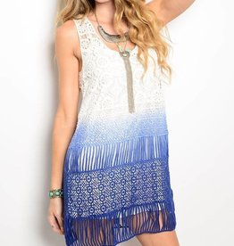 Ivory & Blue Crochet Short Dress