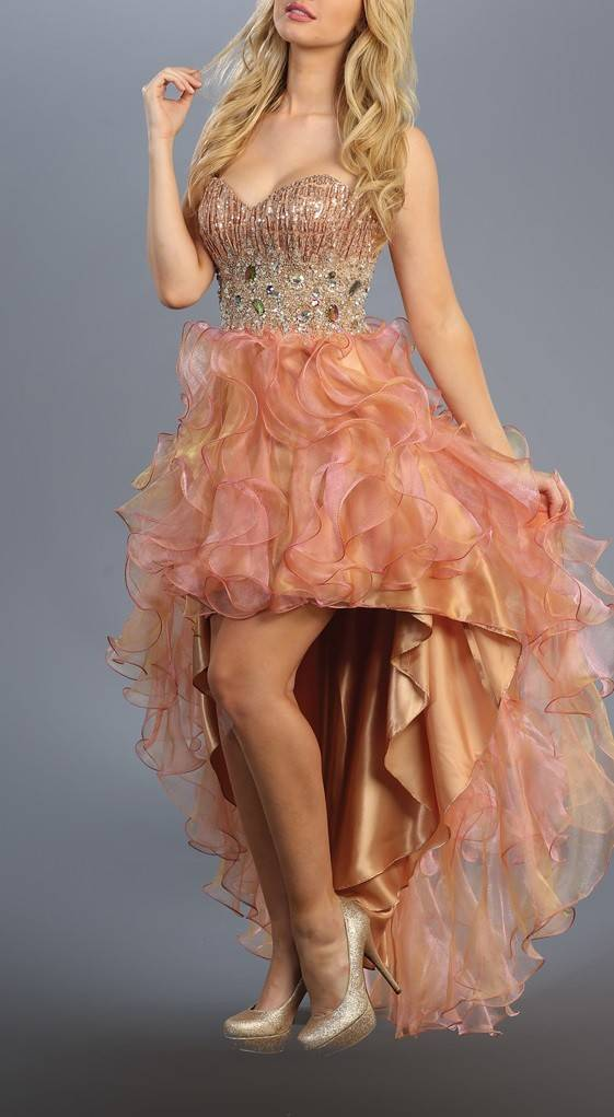 Peach Jeweled Ruffled High Low Dress Size M