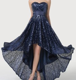 Navy Blue Full Sequin High Low Dress Size 10